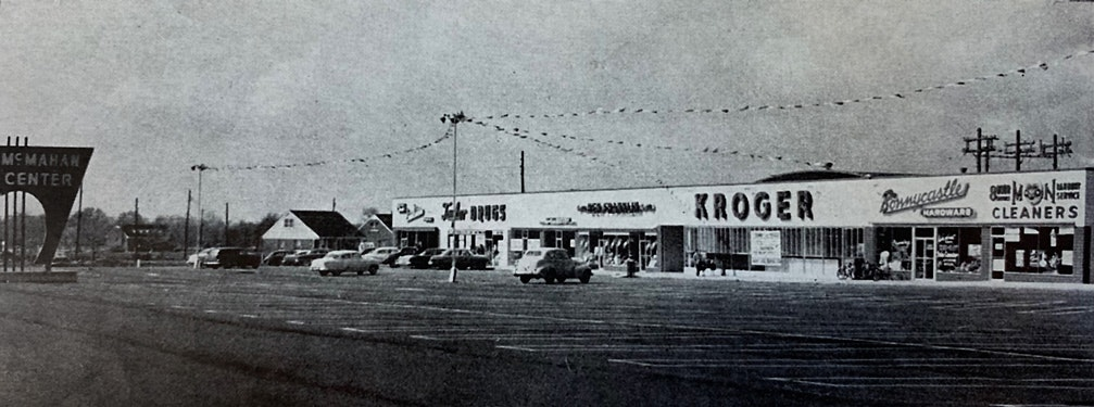 black and white photo of the first McMahan strip mall